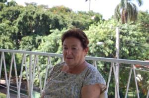 Zoia Barash en el balcón de su apartamento. Agosto de 2009.